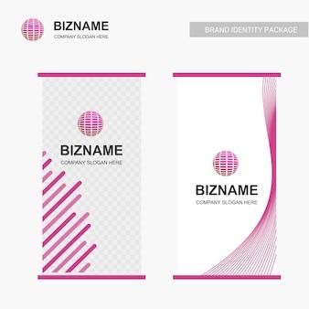 Progettazione della bandiera di affari con il tema rosa e il vettore di logo del mondo