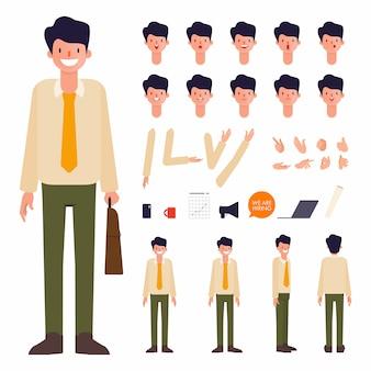 Progettazione della bocca di animazione della creazione del carattere dell'uomo d'affari.
