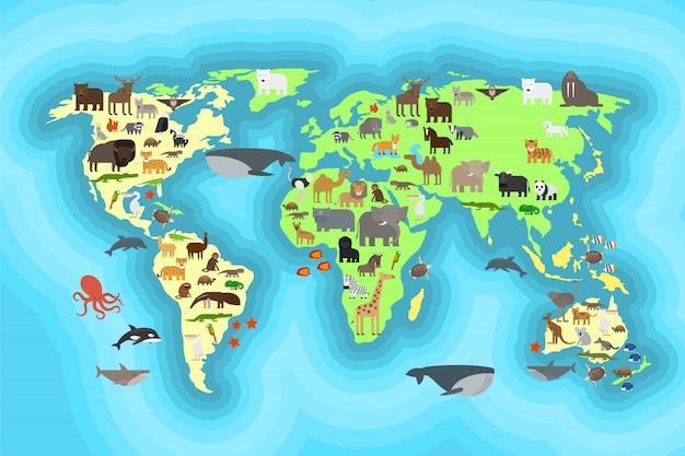 Progettazione della carta da parati della mappa di mondo degli animali