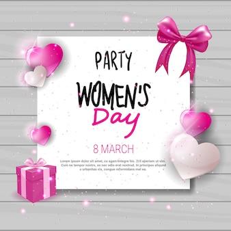 Progettazione della cartolina d'auguri di celebrazione di festa dell'invito del partito del giorno delle donne con le forme del cuore e lo spazio della copia
