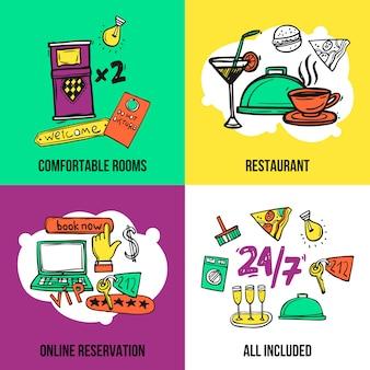 Progettazione della composizione nelle icone di concetto dell'hotel