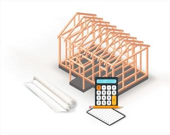 Progettazione della costruzione di una casa con struttura in legno.