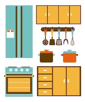 Progettazione della cucina sopra l'illustrazione bianca di vettore del fondo