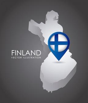 Progettazione della finlandia sopra l'illustrazione grigia di vettore del fondo