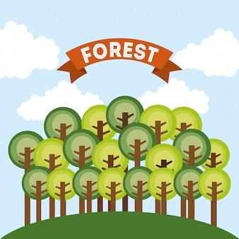 Progettazione della foresta sopra l'illustrazione di vettore del fondo del cielo
