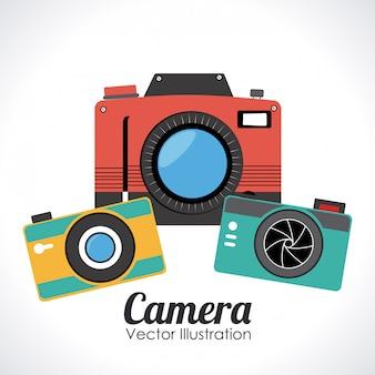 Progettazione della macchina fotografica sopra l'illustrazione bianca di vettore del fondo