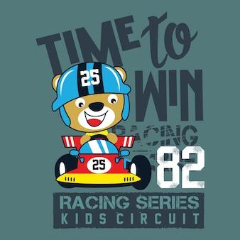 Progettazione della maglietta del bambino di vettore del fumetto della vettura da corsa