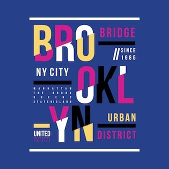 Progettazione della maglietta del ponte di brooklyn di tipografia
