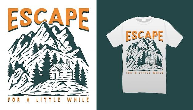 Progettazione della maglietta dell'illustrazione della cabina della montagna