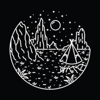 Progettazione della maglietta di arte dell'illustrazione grafica della linea selvaggia di escursione del campo del deserto del nativo americano