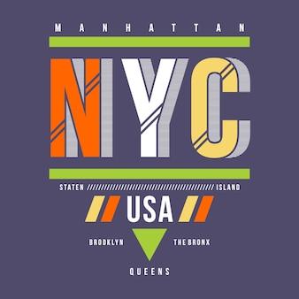 Progettazione della maglietta di tipografia del nyc sua