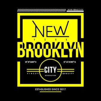 Progettazione della maglietta di tipografia di new york brooklyn