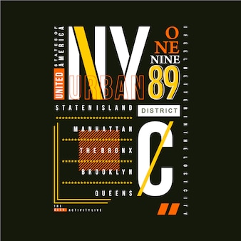 Progettazione della maglietta di vettore di tipografia grafica del telaio del testo di nyc