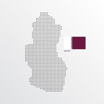 Progettazione della mappa del qatar con la bandiera e il vettore leggero del fondo