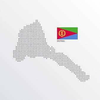 Progettazione della mappa dell'eritrea con la bandiera e il vettore leggero del fondo