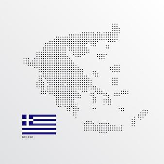 Progettazione della mappa della grecia con la bandiera e il vettore leggero del fondo