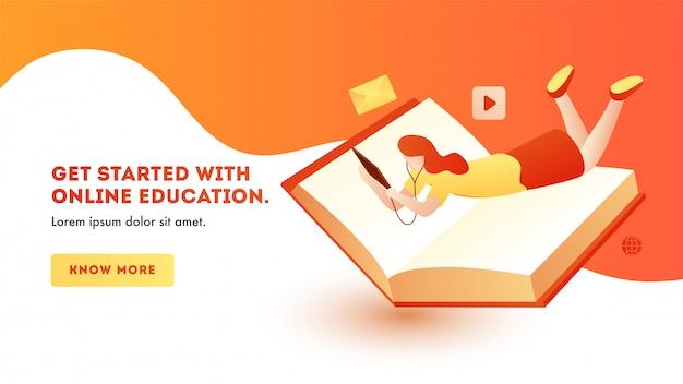 Progettazione della pagina del modello dell'insegna con la ragazza che impara istruzione online dalla compressa con il libro