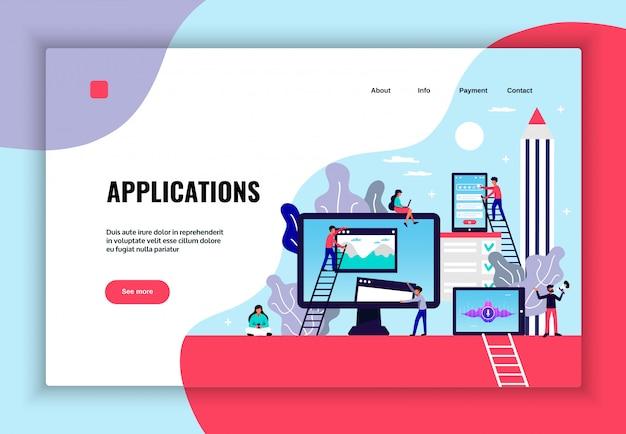 Progettazione della pagina dell'applicazione mobile con l'illustrazione piana di simboli di servizi di web hosting
