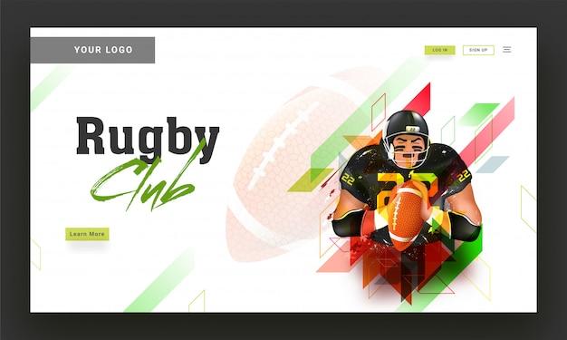 Progettazione della pagina di atterraggio del club di rugby con l'illustrazione del giocatore di rugby sopra