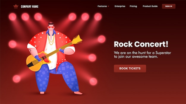 Progettazione della pagina di atterraggio di concerto rock con l'illustrazione dell'uomo che gioca il fuoco del riflettore e della chitarra