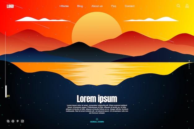 Progettazione della pagina di atterraggio nel concetto del cielo di tramonto