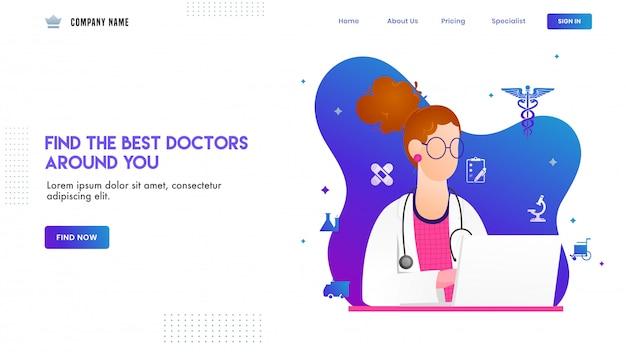 Progettazione della pagina di destinazione con l'illustrazione del carattere di medico della donna e degli elementi medici