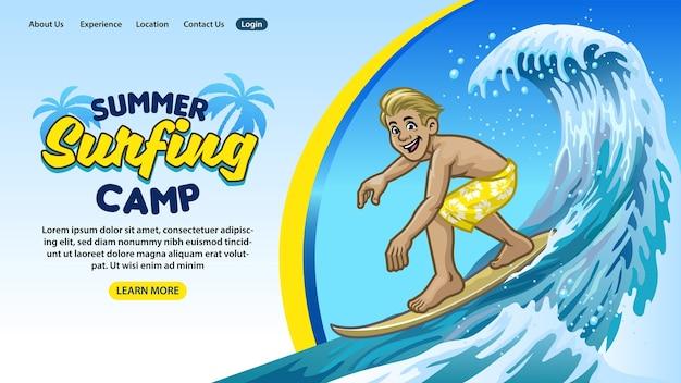 Progettazione della pagina di destinazione del concetto di campo estivo di surf in stile cartone animato