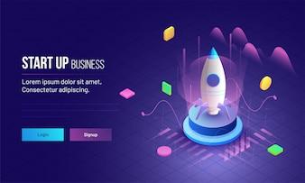 Progettazione della pagina di destinazione del concetto Startup di affari