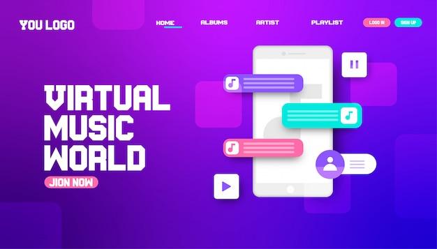 Progettazione della pagina di destinazione del sito web del mondo della musica virtuale