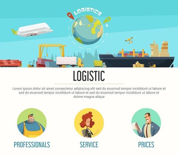 Progettazione della pagina di logistica con l'illustrazione di vettore del fumetto di simboli di prezzi e dei professionisti