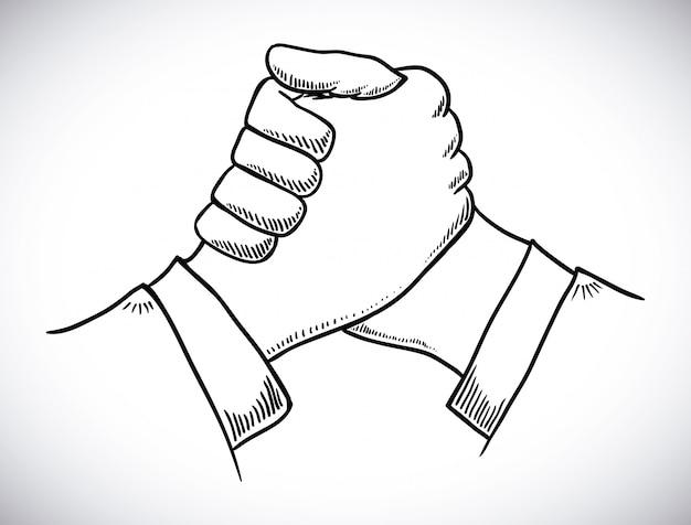 Progettazione della stretta di mano sopra l'illustrazione grigia di vettore del fondo
