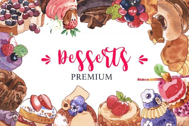 Progettazione della struttura del dessert con il bigné, crostata delle bacche, illustrazione dell'acquerello del dolce di cioccolato.