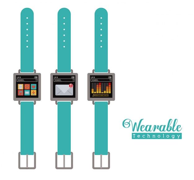 Progettazione della tecnologia smartwatch, illustrazione vettoriale.