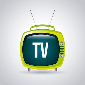 Progettazione della tv sopra l'illustrazione grigia di vettore del fondo