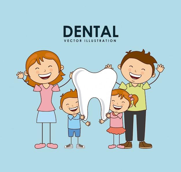 Progettazione dentale sopra l'illustrazione blu di vettore del fondo