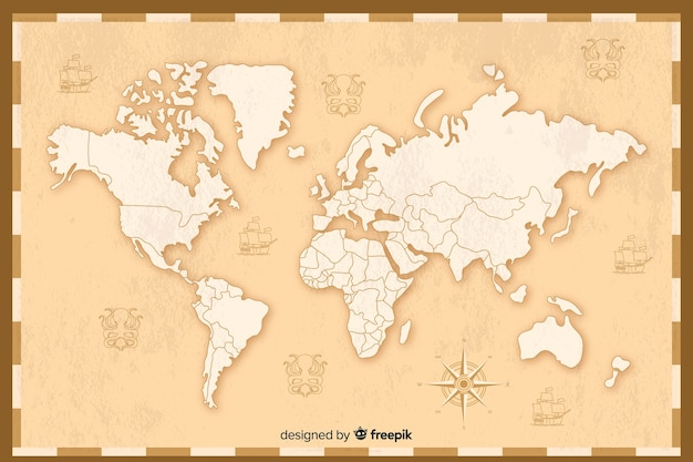 Progettazione dettagliata della mappa del mondo vintage