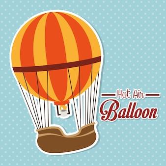 Progettazione di airballoon sopra l'illustrazione blu di backgroundvector