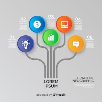 Progettazione di alberi infografica gradiente