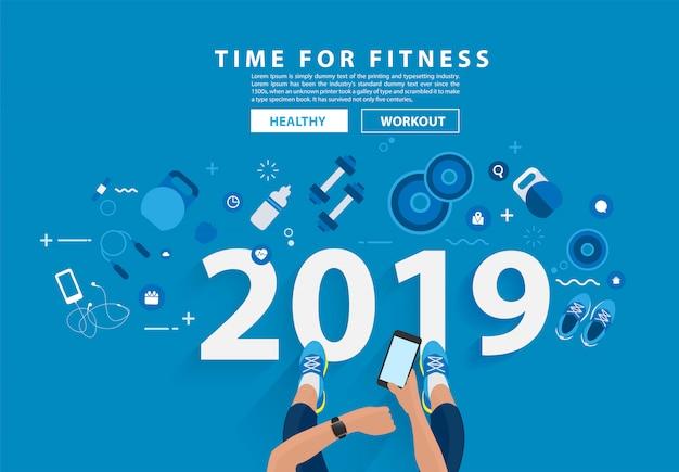 Progettazione di alfabeto di tipografia di allenamento di concetto di forma fisica 2019 del nuovo anno