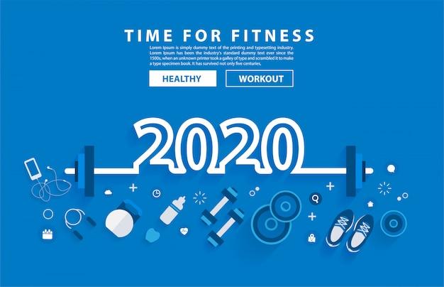 Progettazione di alfabeto di tipografia di allenamento di concetto di forma fisica di 2020 nuovi anni con attrezzatura