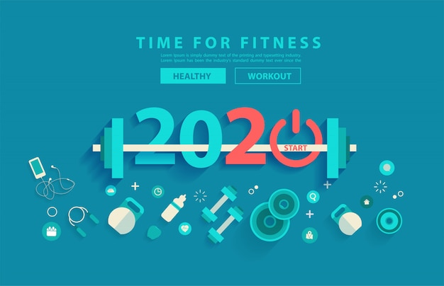 Progettazione di alfabeto di tipografia di allenamento di concetto di forma fisica di 2020 nuovi anni
