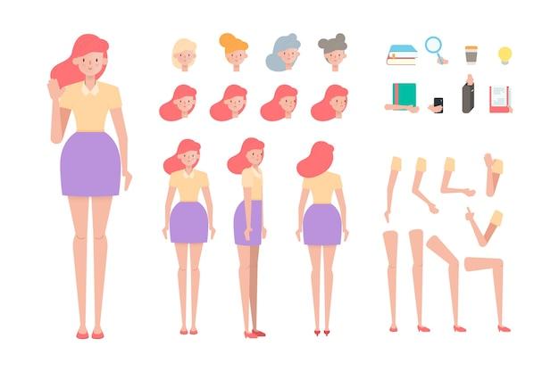 Progettazione di attività di posa diversa creazione personaggio persone.