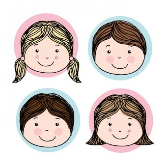 Progettazione di bambini sopra illustrazione vettoriale sfondo bianco