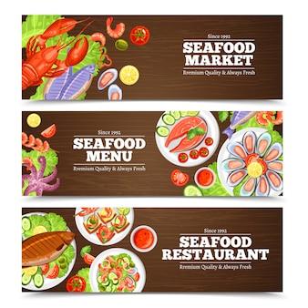 Progettazione di banner di frutti di mare
