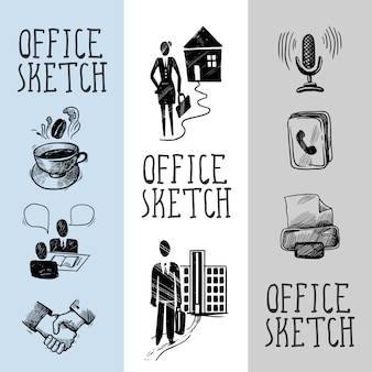 Progettazione di banner di schizzo di office