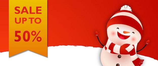 Progettazione di banner di vendita con pupazzo di neve ridendo