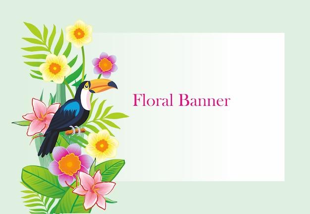 Progettazione di banner floreale toucan