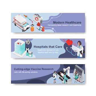 Progettazione di banner sanitari con ospedale, medico e farmacia