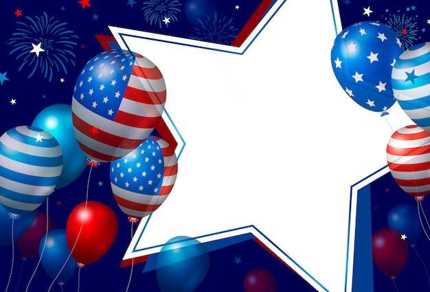 Progettazione di banner usa di palloncini e stelle di carta bianca vuota con fuochi d'artificio