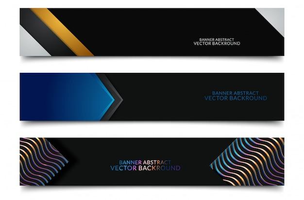 Progettazione di banner web orizzontali neri